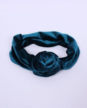 Headband fluwelen bloem blauw