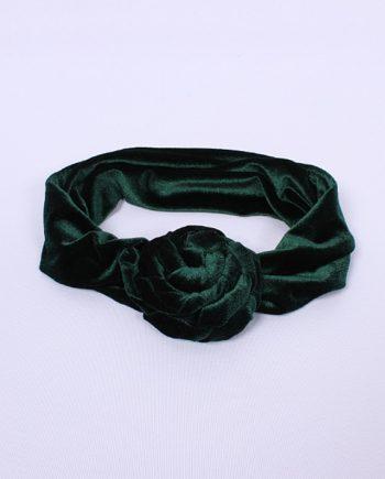 Headband fluwelen bloem groen