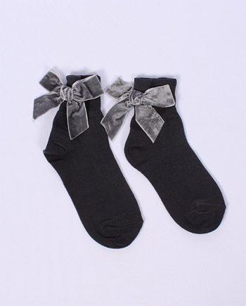 Sok strik velvet grijs