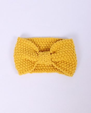Headband knitted geel