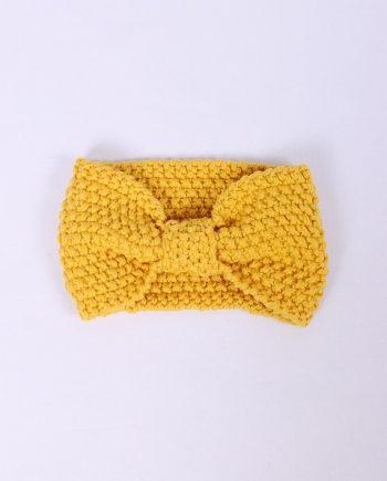 Headband knitted geel