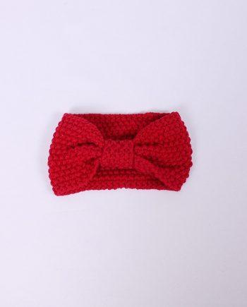 Headband knitted rood