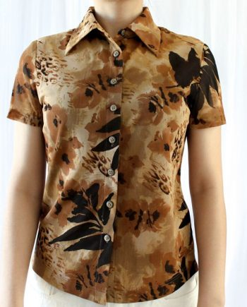 Vintage blouse bruin jungle