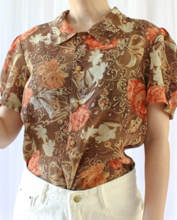 Vintage blouse oranje bloem