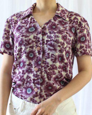 Vintage blouse paars bloemen