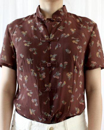 Vintage bruin blouse klein bloem