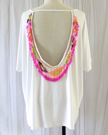 Wit strandtop roze wit fringe
