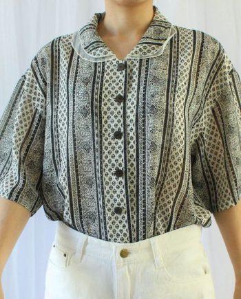 Vintage blouse boho zwart wit