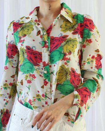 Vintage blouse geel rood groen bloem