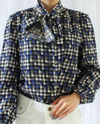 Vintage blouse zwart wit blauw vierkant