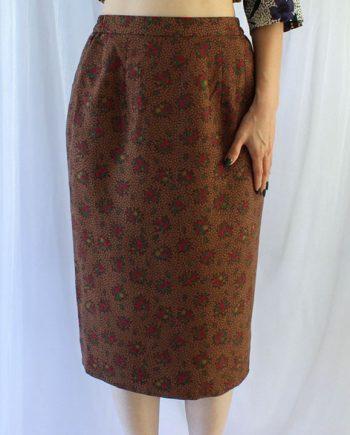 Fleur de jupe marron vintage