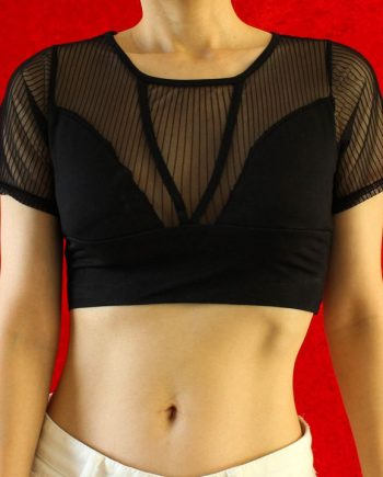 Zwart mesh crop top