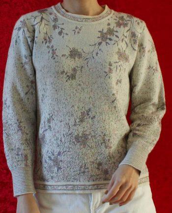 Vintage wit trui met bloem