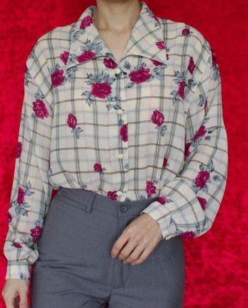 Vintage beige blouse roze bloem vierkant