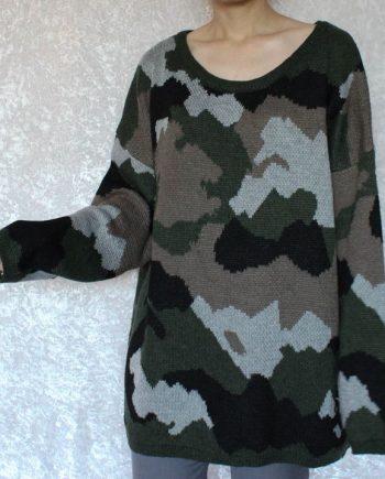 Vintage groen trui camouflage