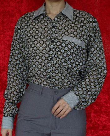 Vintage zwart geel blouse vierkant