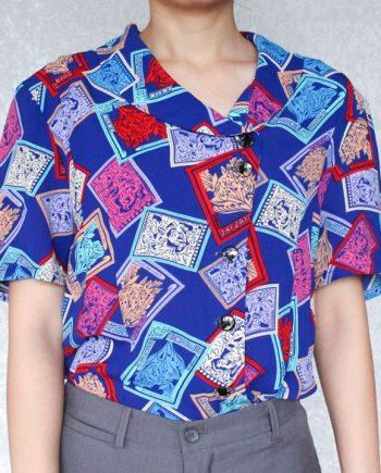 Vintage blauw blouse vierkant