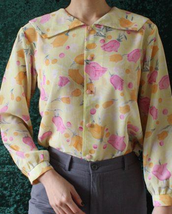 Vintage geel blouse roze oranje bloem
