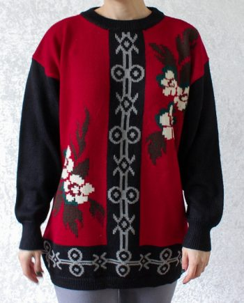 Vintage rood zwart trui bloem