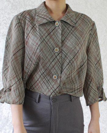 Vintage grijs blouse bruin rood stripe