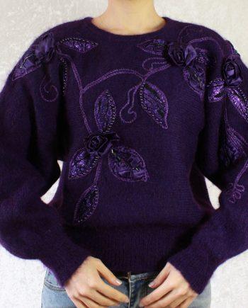 Vintage paars trui bloem