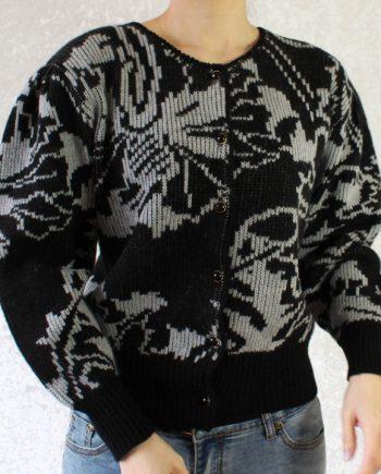 Vintage zwart grijs trui