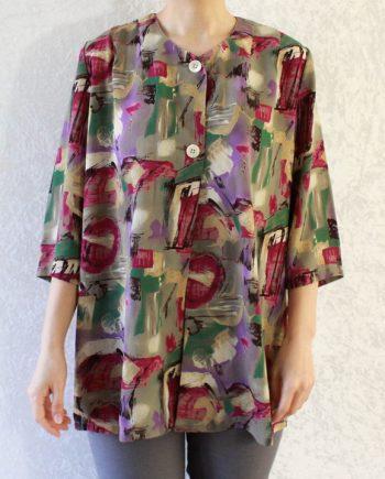 Vintage blouse lila paars groen T650