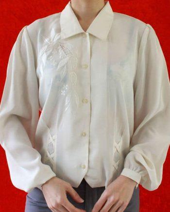 Vintage cream blouse bloem blad