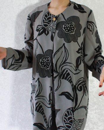 Vintage grijs blouse zwart bloem blad