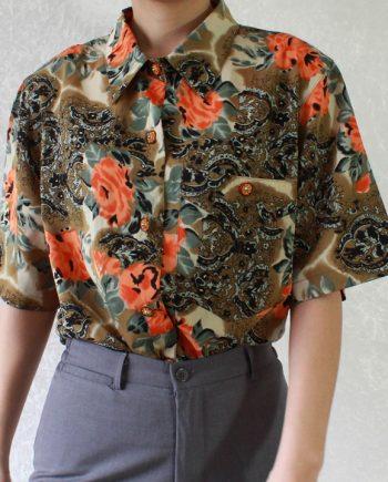 Vintage groen bruin blouse oranje bloem