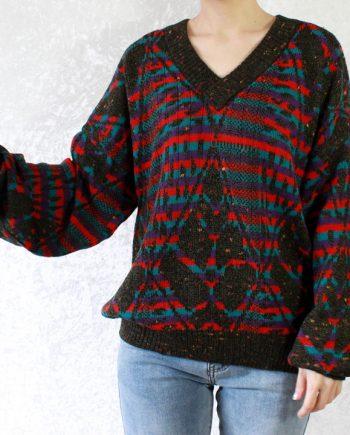 Vintage trui bruin paars rood