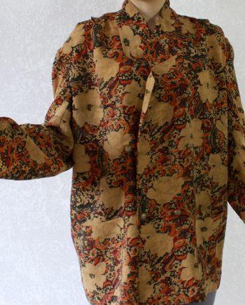 Vintage zandgeel blouse oranje rood pattern