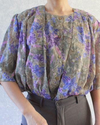 Vintage blouse blauw lila bloem T316