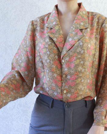 Vintage blouse roze geel bloem T699