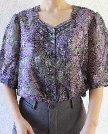 Vintage lila grijze blouse hollow T690.1