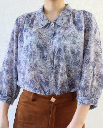 Vintage blouse blad paars blauw T690.5