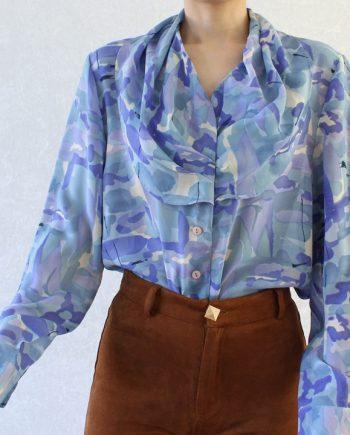 Vintage blouse blauw paars T630