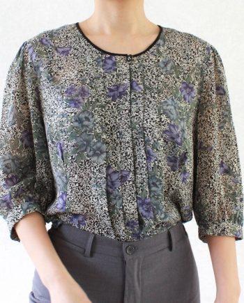 Vintage blouse blauw parrs bloem T677