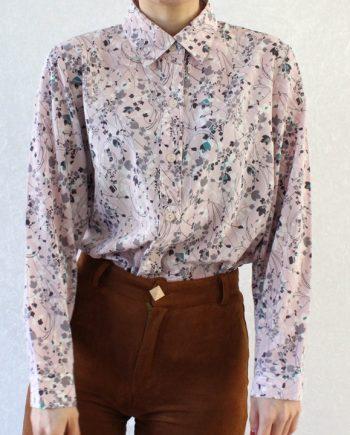 Vintage blouse bloem roze wit T352