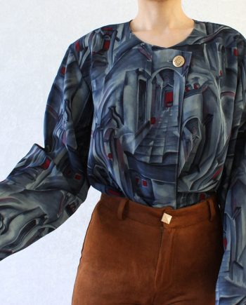 Vintage blouse blue houses T691