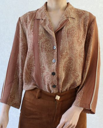 Vintage blouse bohemian rood beige T695