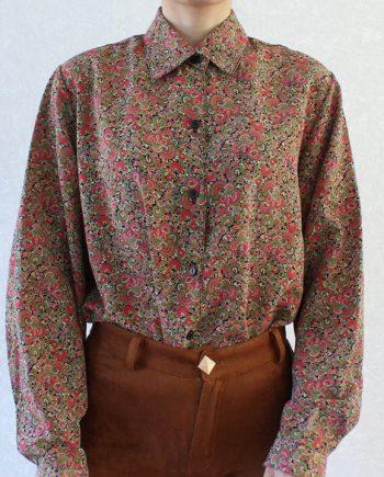 Vintage blouse boho roze groen T310