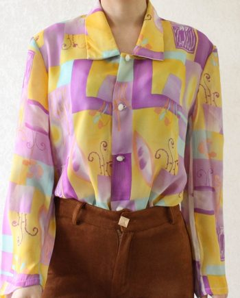 Vintage blouse geel lila T350