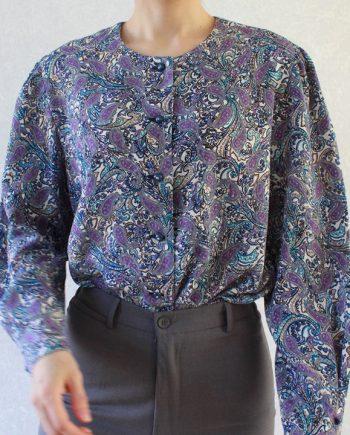 Vintage blouse lila paars boho T691