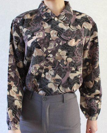 Vintage blouse paars beige T692