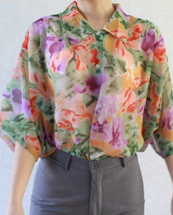 Vintage blouse paars roze bloem T640.4