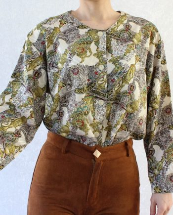 Vintage blouse royal geel beige T690.5