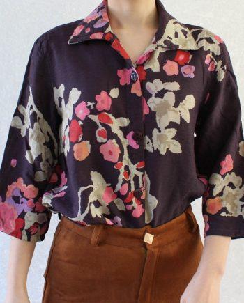 Vintage blouse roze rood bloem T690