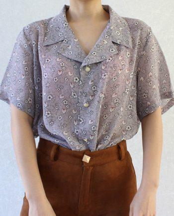 Vintage blouse wit bloem blad T681