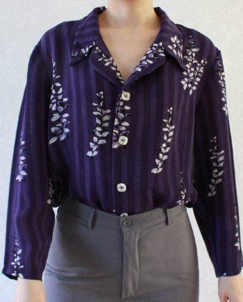 Vintage blouse wit paars bloem T610